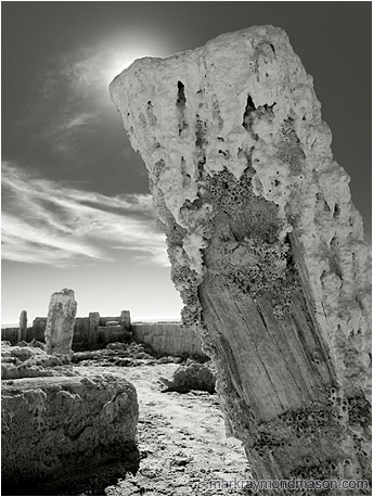 Fine art B&W photograph showing bridge piers crusted in salt and barnacles against a dramatic cloudy sky